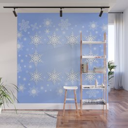 Snowflake frame with background Wall Mural