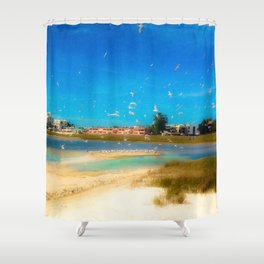Sky Full of Birds Shower Curtain
