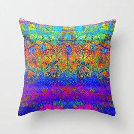 Bright Rainbow Colored Half Mandala Design Throw Pillow