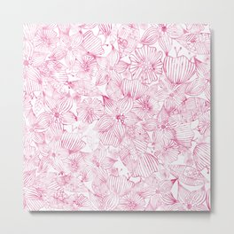 Watercolor pink white hand painted floral Metal Print