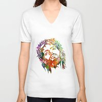 jesus V-neck T-shirts featuring JESUS  by mark ashkenazi