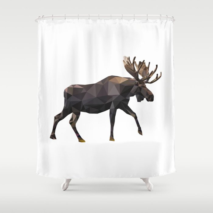 Polygon geometric Moose Shower Curtain by linalittlefield   Society6