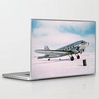 aviation Laptop & iPad Skins featuring Vintage aviation photograph Alaska Airlines airplane air plane classic pilot flight travel photo by iGallery