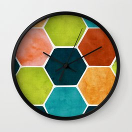 Colorful Terra Cotta - hexagon tile pattern Wall Clock