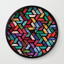 Seamless Colorful Geometric Pattern VII Wall Clock