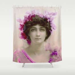Beautiful,young lady,Belle epoque,victorian era, vintage, angelic girl, beautiful,floral,gentle,peac Shower Curtain