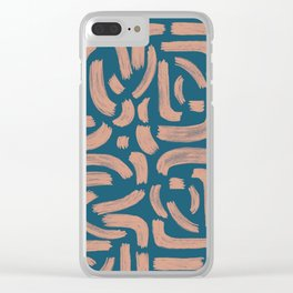 Pale Pink Brush Strokes – Uneven Edges Clear iPhone Case