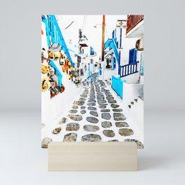 Mykonos Town Watercolor Art Mini Art Print