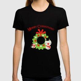 Festive Christmas Cartoons on Chevron Pattern T-shirt