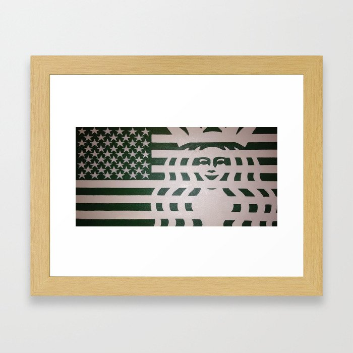 Coffee Americano: The 99 Banners Collection By Wesley Bennett And Four Horses And Six Guns Framed Art Print