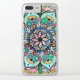 Bohemian Colorful Watercolor Floral Mandala Clear iPhone Case