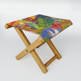 """Sherwood Forest"" Abstract Acrylic Painting by Noora Elkoussy Folding Stool"