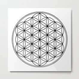 Flower of life in black, sacred geometry Metal Print
