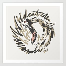 Wildcat Roar - Mountain Lion - Taupe Gray Art Print