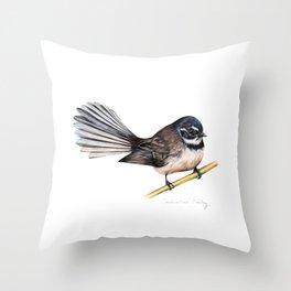 New Zealand Fantail Throw Pillow