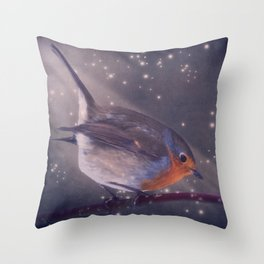 The little robin at the night Throw Pillow