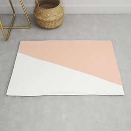 Geometric Blush Pink + White Rug