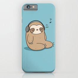 Kawaii Cute Sloth Listening To Music iPhone Case