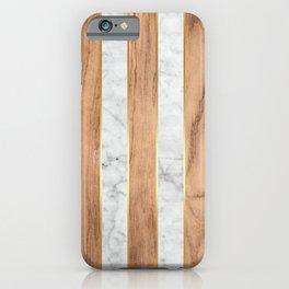 Striped Wood Grain Design - White Marble #497 iPhone Case