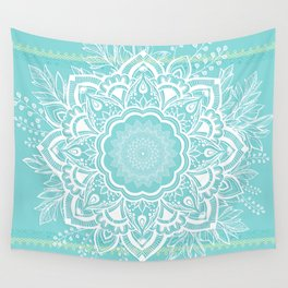 mandala bohemian embellishments floral medallion turquoise Wall Tapestry