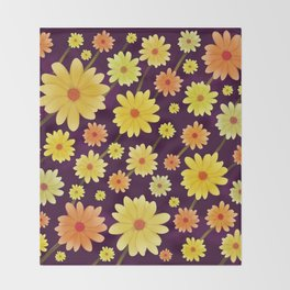 Yellow dots, Yellow Flower, Floral Pattern, Yellow Blossom Throw Blanket