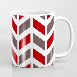 Red, taupe and white chevron pattern Coffee Mug