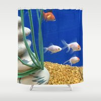 swimming Shower Curtains featuring Swimming by Jenna Allensworth