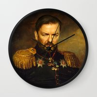 replaceface Wall Clocks featuring Ricky Gervais - replaceface by replaceface