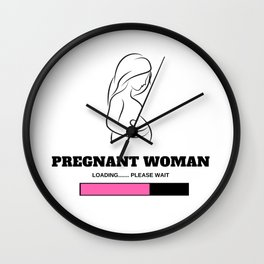 Pregnant Woman Loading Please Wait (Girl) Wall Clock