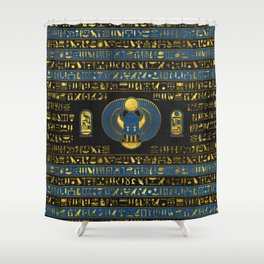 Golden Egyptian Scarab Ornament on  leather Shower Curtain
