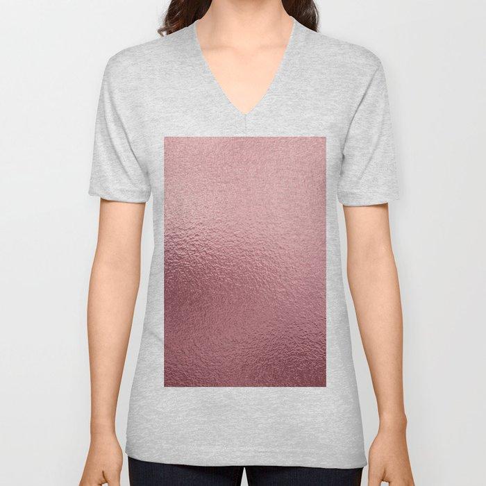 Pure Rose Gold Pink Unisex V-Neck