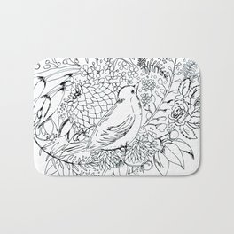 Sketched bird and flowers Bath Mat