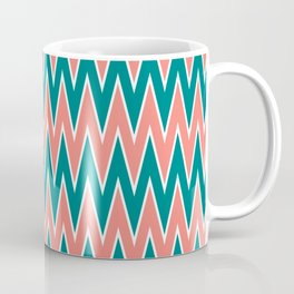 Coral Pink and Teal Zigzag Pattern Coffee Mug