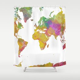 Map of the World - Watercolor 5 Shower Curtain