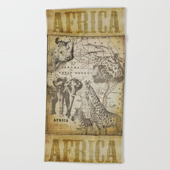 Out of Africa vintage wildlife art Beach Towel