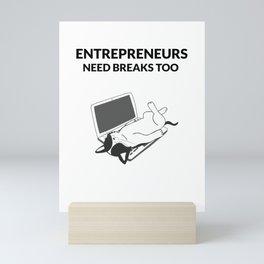Entrepreneur Cat Taking a Break Mini Art Print