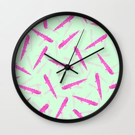Modern neon pink green girly cute funny alligator pattern Wall Clock