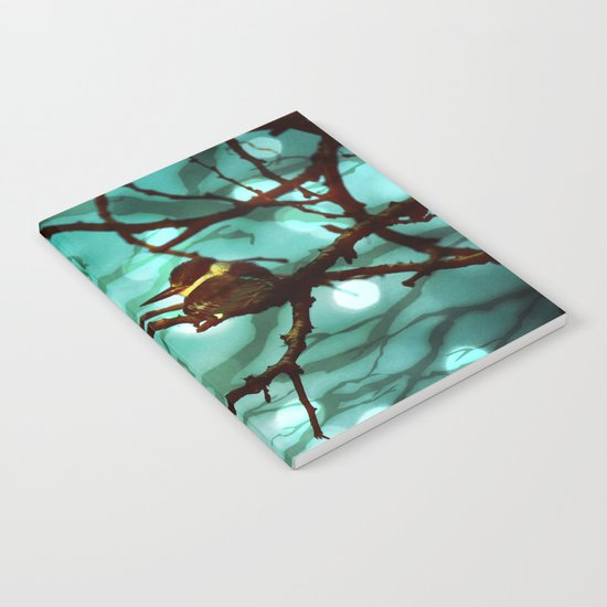 African Bird and Branches Aqua Notebook