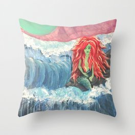 Mermaid Moon - Color Throw Pillow