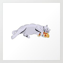 Paws off my pizza! - Perfect drawing for cat and pizza lovers alike Art Print