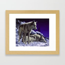 Night Watch Wolves in Snow Framed Art Print