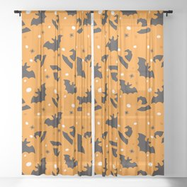 Happy halloween bats and witch hats pattern Sheer Curtain
