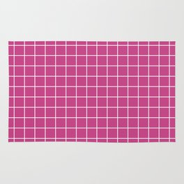 Smitten - fuchsia color - White Lines Grid Pattern Rug