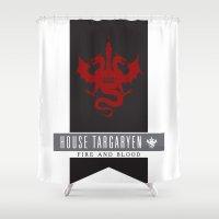 targaryen Shower Curtains featuring House Targaryen Sigil V2 by P3RF3KT