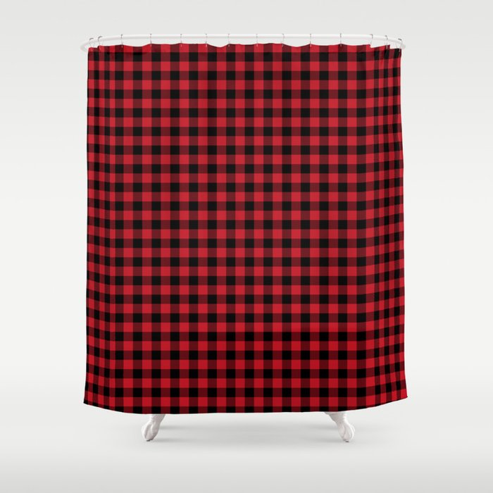 Winter Red And Black Plaid Christmas Gifts Minimal Pattern Plaids Checked Shower Curtain By Charlottewinter