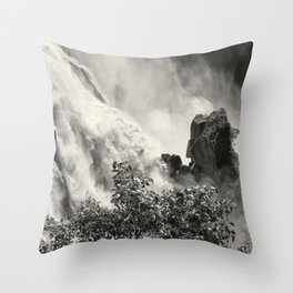 Strength against the waterfall Throw Pillow