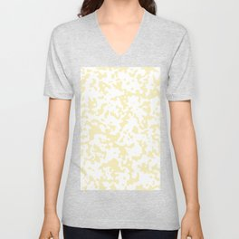 Spots - White and Blond Yellow Unisex V-Neck