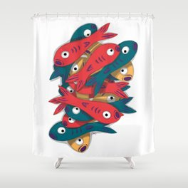 Fish Stack Shower Curtain