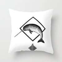 narwhal Throw Pillows featuring Narwhal by Destiny Von Brandt