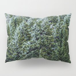 Snow Bank Woodlands // Photograph of the Dense Blue Green Evergreen Pine Tree Forest Pillow Sham